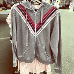 Chevron stripe zip up sweatshirt